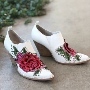 Jeffrey Campbell White Floral Stud Ankle Boots